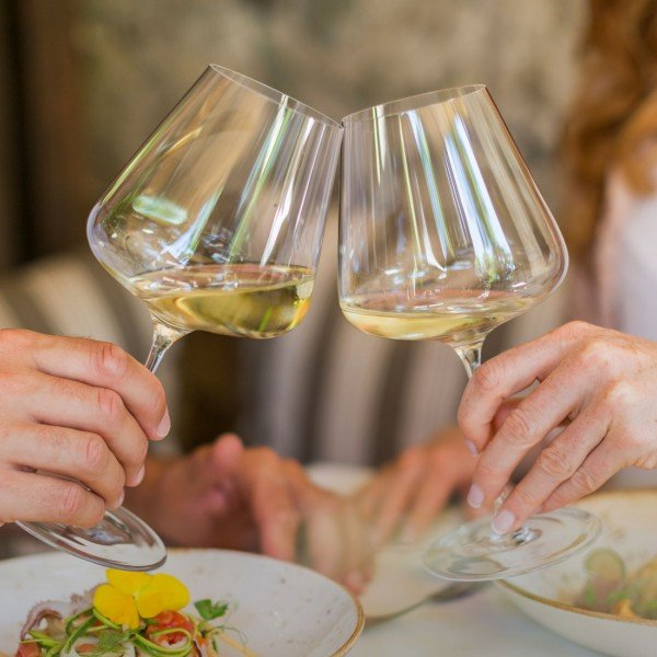 Couple launches with a white wine